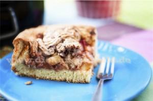 Kuchenstück Rhabarberkuchen